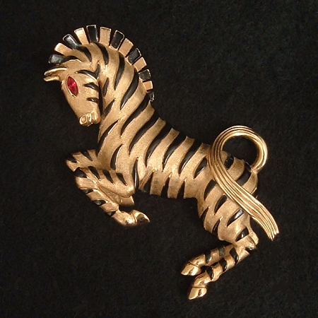 Crown Trifari Black Enamel Zebra Brooch