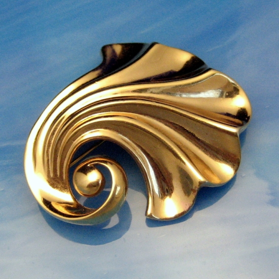 Crown Trifari Swirled Shell Brooch, late 1950s
