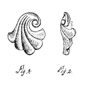 Trifari Swirled Shell Brooch Drawing, Patent 137545