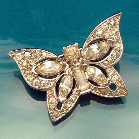 Early Crown Trifari Rhinestone Butterfly Pin