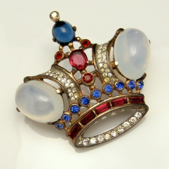 Trifari Pat Pend Sterling Vermeil Crown Brooch